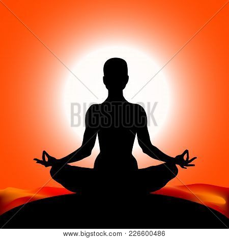 Famale Body Silhouette In Yoga Lotus Asana On The Sun Red Color Background. Vector Illustration Eps