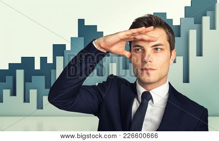 man portrait and financial diagram on background