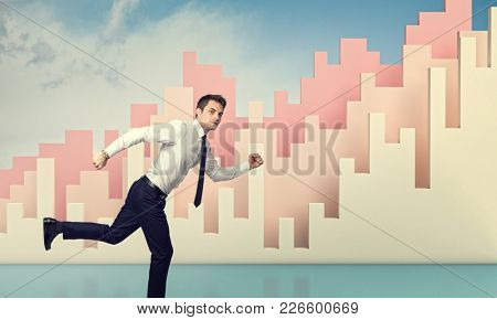running businessman and financial 3d chart background
