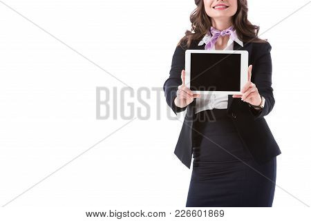 Cropped Image Of Stewardess Showing Tablet With Blank Screen Isolated On White