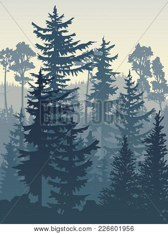 Vertical Vector Illustration Of Coniferous Forest (spruce, Pine) In Blue Tones.