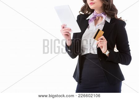 Cropped Image Of Stewardess With Tablet And Credit Card Isolated On White