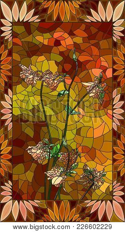 Vector Mosaic With Columbine Orange Flowers In Vertical Stained-glass Window Frame.