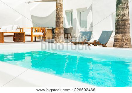Swimming Pool In A Luxury Hotel. Travel And Vacation