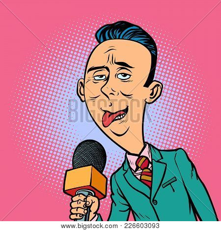 Ridiculous Funny Weird Reporter Correspondent Journalist Male. Television And Radio, Internet Broadc