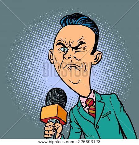 Wrinkled Nasty Bad Reporter Correspondent Journalist Male. Television And Radio, Internet Broadcasti