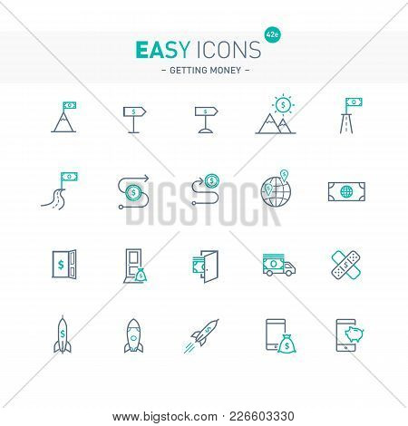 Vector Thin Line Flat Design Icons Set For Getting Money Theme