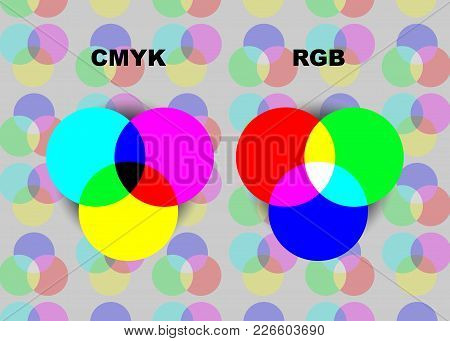 Vector Chart Explaining Difference Between Cmyk And Rgb Color Modes. Isolated Or Colorful Background