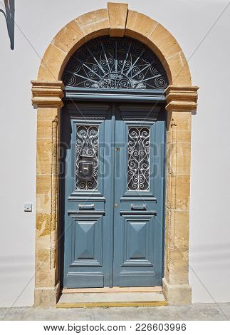 Traditional Classic Style Old Wooden Medieval Vintage Blue Painted Door With Knockers In Valletta, M