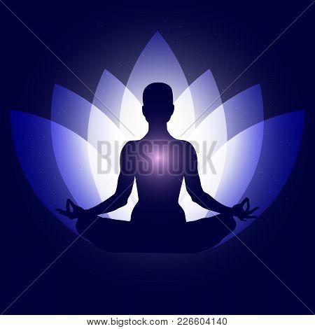 Human Body In Yoga Lotus Asana. Backgroung Neon Blue Lotus Petals Dark Blue Space Stars. Esoterics,