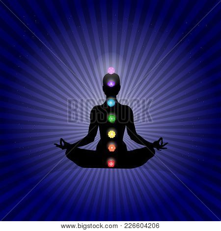 Famale Body In Yoga Asana With Seven Chakras In Shining Neon Colors In Rays Dark Blue Stars Space Ba