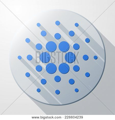 Flat Icon Of Cardano Ada Cryptocurrency Sign.. Money And Finance Symbol. Vector Illustration Isolate