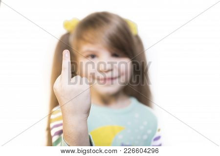 Little Emotional Girl Showing Middle Finger Isolated On White Background For All Purposes