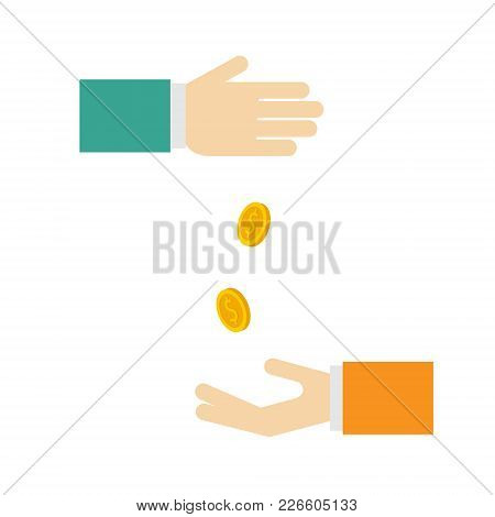 Picture Depicting Alms. Or Money Relations. The Percentage Of The Deposit. Coins Fall Into The Hand.