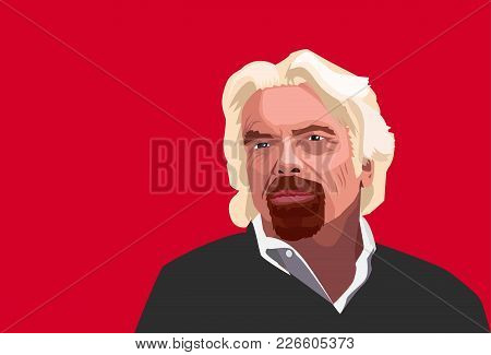 Feb,2018: Famous Entreperneur Richard Branson Vector Portrait