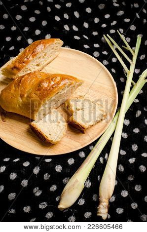 Delicious Bread On Wooden Plate, Homemade Bakery