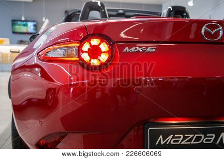 GDANSK, POLAND - FEBRUARY 13, 2018: Mazda MX-5 in the car showroom of Gdansk, Poland. Mazda MX-5 is a cabrio sport car manufactured in Japan by the Mazda Motor Corporation.
