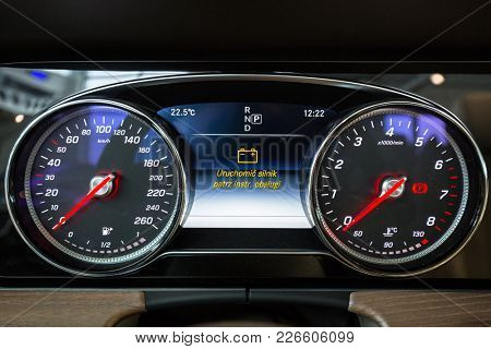 GDANSK, POLAND - FEBRUARY 13, 2018: Dashboard of new Mercedes E cabrio in the car showroom of Gdansk, Poland. Mercedes-Benz is German luxury  automobile manufacturer located in Stuttgart.