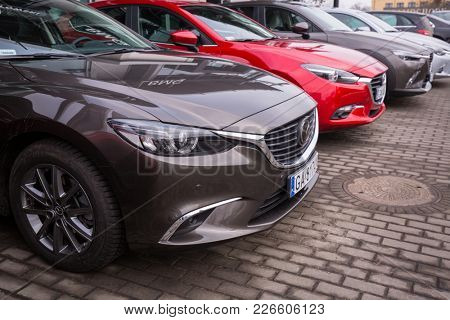 GDANSK, POLAND - FEBRUARY 13, 2018: Mazda 6 at the car showroom of Gdansk, Poland. Mazda 6 is a popular sedan car manufactured in Japan by the Mazda Motor Corporation.