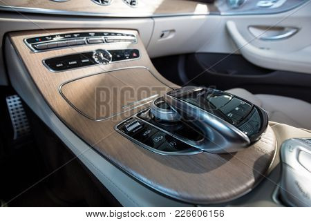GDANSK, POLAND - FEBRUARY 13, 2018: Interior of new Mercedes E cabrio in the car showroom of Gdansk, Poland. Mercedes-Benz is German luxury  automobile manufacturer located in Stuttgart.