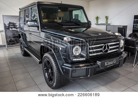 GDANSK, POLAND - FEBRUARY 13, 2018: New Mercedes G class SUV in the car showroom of Gdansk, Poland. Mercedes-Benz is German luxury  automobile manufacturer located in Stuttgart.
