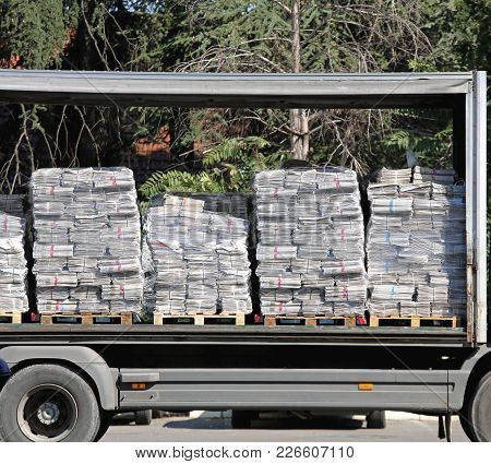 Magazines At Pallets In Truck Ready For Shipping