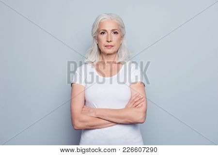 Portrait  Of Nice, Charming, Aged, Perfect, Nice, Pretty, Concentrated, Woman With Folded Hands, Ser
