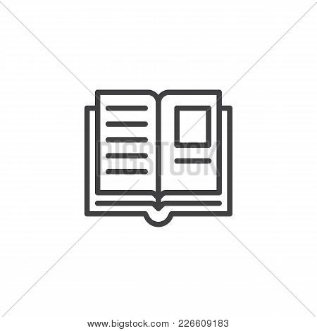 Open Book Pages Outline Icon. Linear Style Sign For Mobile Concept And Web Design. Education Simple