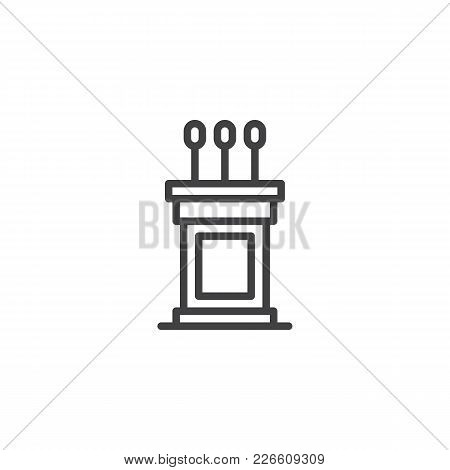 Podium Outline Icon. Linear Style Sign For Mobile Concept And Web Design. Tribune Simple Line Vector