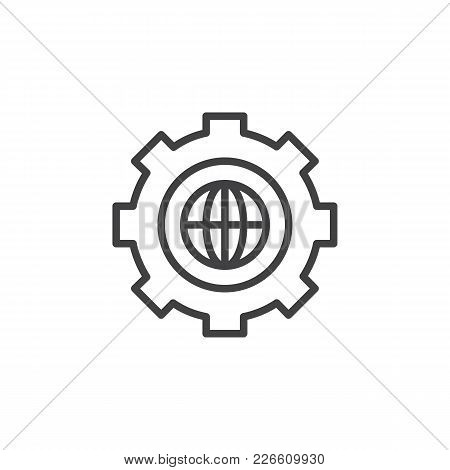 Gear With Globe Outline Icon. Linear Style Sign For Mobile Concept And Web Design. Earth Inside Cog