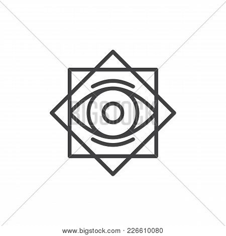 Eight Pointed Star With All Seeing Eye Outline Icon. Linear Style Sign For Mobile Concept And Web De