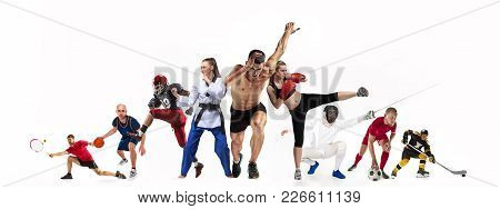 Sport Collage About Boxing, Soccer, American Football, Basketball, Ice Hockey, Fencing, Jogging, Tae
