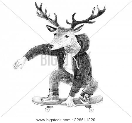 Hand drawn dressed up deer hipster skateboarder