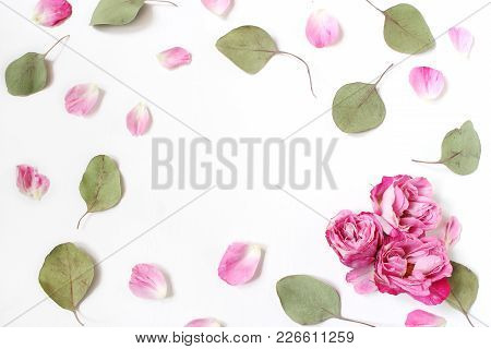 Styled Stock Photo. Feminine Wedding Desktop Composition With Pink Roses Petals And Flowers, Dry Gre