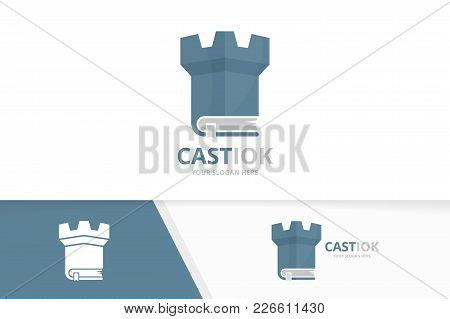 Vector Book And Castle Logo Combination. Tower And Market Symbol Or Icon. Unique Bookstore, Library