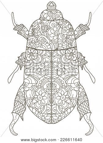 Darkling Beetle. Anti Stress Coloring Book. Vector Object Illustration Egyptian Beetle. Black Lines