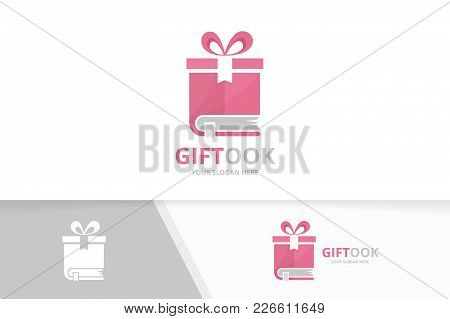 Vector Book And Gift Logo Combination. Present And Market Symbol Or Icon. Unique Bookstore, Library