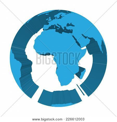 Earth Globe Model With Blue Extruded Lands. Focused On Africa. 3d Vector Illustration.