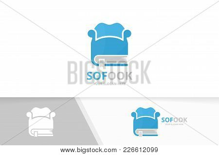 Vector Book And Sofa Logo Combination. Couch And Market Symbol Or Icon. Unique Bookstore, Library An
