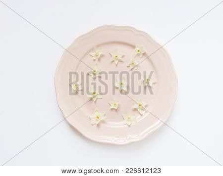 Spring Styled Stock Photo. Easter Concept. Feminine Desktop Scene. Frame Of Narcissus, Daffodil Flow