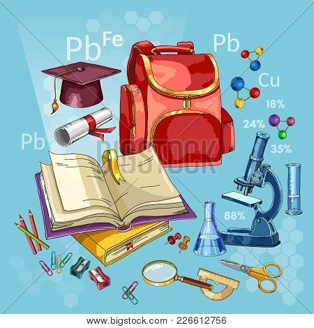 Education Background. Back To School Tools. Modern Education Elements. Open Book Of Knowledge. Symbo