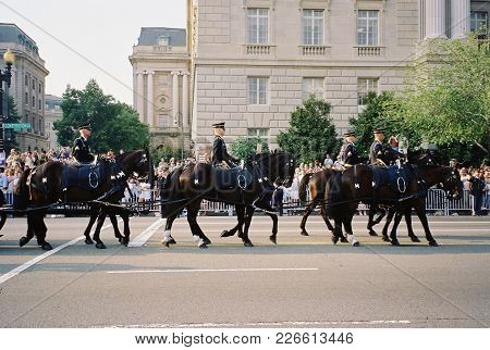 Ronald Reagan Funeral Procession Six Horses Pulling The Caisson Bearing The Casket Of Former Preside