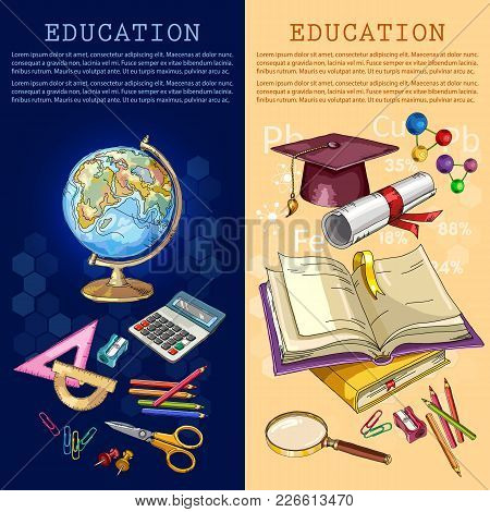 Education Banner. Back To School. Education Elements, Tools. Open Book Of Knowledge. Symbol Of Scien