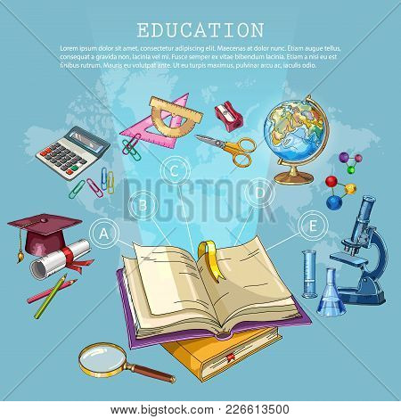 Education And Science. Back To School Concept. Modern Education Elements, School Tools. Open Book Of