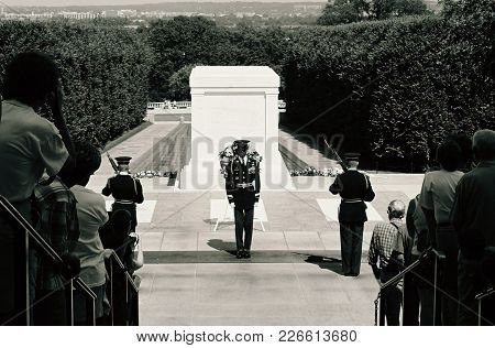 Changing Of The Guard At The Tomb Of The Unknown Solder In Black And White, Arlington National Cemet
