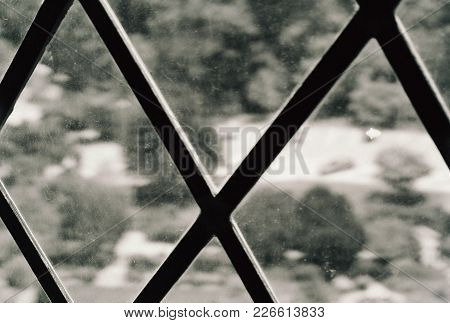 Window Pane Criss Cross Frame With Blurred Exterior View Black And White Conceptional
