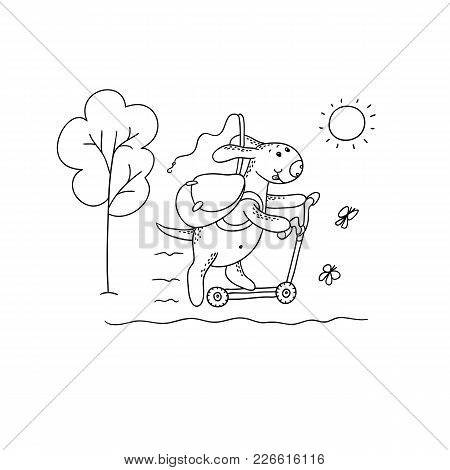 Vector Black-white Sketch Funny Cartoon Puppy. Character Dog Rides A Scooter With A Backpack And A F