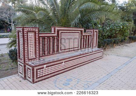 Castellon,spain-january 30,2018: Park, Parque Ribalta, Public Garden City Center,ceramic Bench.caste