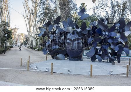 Castellon,spain-january 30,2018: Park, Parque Ribalta, Public Garden City Center,sculpture Butterfli