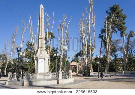 Castellon,spain-january 30,2018: Park, Parque Ribalta, Public Garden City Center, Obelisk.castellon,